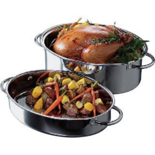 New 2 in 1 High Dome Stainless Steel Roaster