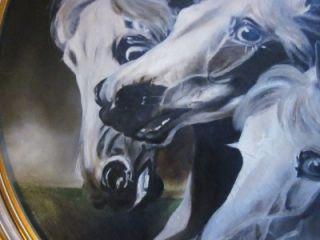 Original Antique Oil Painting  Pharaohs Horses  3 Arabians 1900s