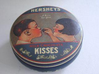Hersheys Milk Chocolate Kisses Round Tin 1982 Made in England