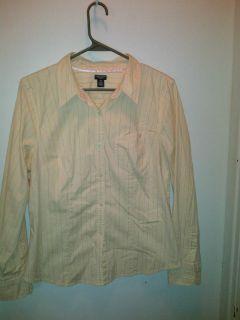 American Eagle size 14 shirt button down pink stripes top blouse