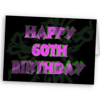 glaring Happy 60th Birthday card set against a black background