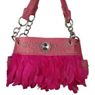 Pink Feather Rhinestone Stud Western Handbag Purse