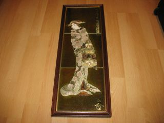 Co Japanese Geisha Girl England Trent Majolica Framed Highgate