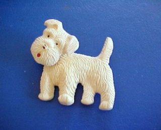 west highland terrier pin head moves vintage plastic