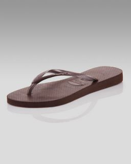Havaianas Slim Metallic Flip Flop, Dark Brown   Neiman Marcus