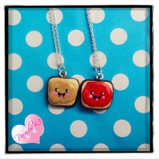 Kawaii Kitsch Happy Peanut Butter Jelly Best Friends Forever Necklace