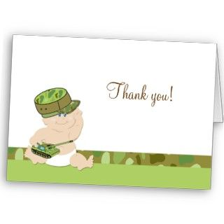 Army Baby Military Folded Thank you notes Greeting Cards