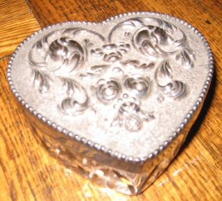 BEAUTIFUL VINTAGE TOPAZIO CRYSTAL & SILVER HEART SHAPED TRINKET BOX