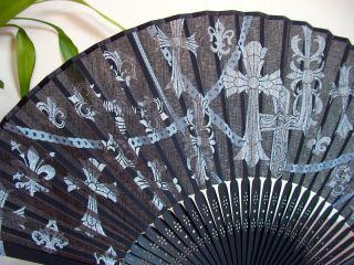 Silver God Cross Black Cotton Hand Fan Lady Gentle New Ceremony Church
