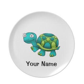 Personalized Plate, Cute Turtle Cartoon
