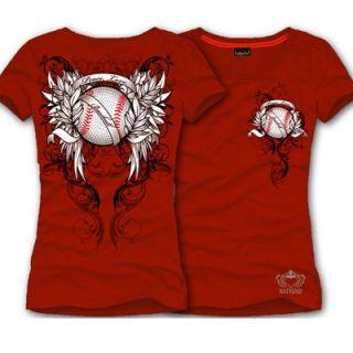 Katydid Red Peace Love Baseball Rhinestone Shirt