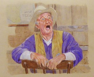 Searchers ORG Prisma Color Pencil Drawing Hank Worden as Mose