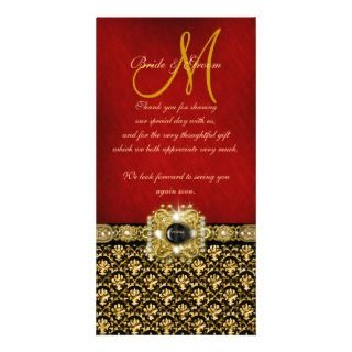 Thank you damask black red gold Photo Card Template