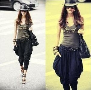 Fashion Womens Stretch Street Style Hip Hop Baggy Loose Harem Pants