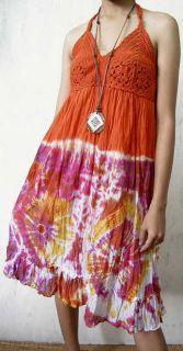 Hippie Halter Dress Tie Dyed Crocheted by Hand s M