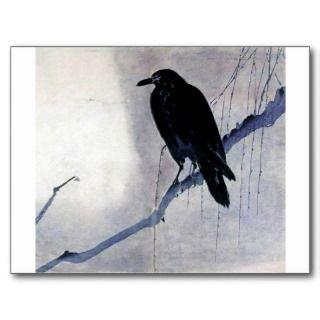 Pájaro negro del cuervo postal de