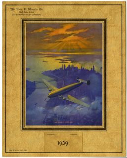 Vintage Ruehl Heckman 1939 Thos D Murphy Art Deco Aviation Machine Age