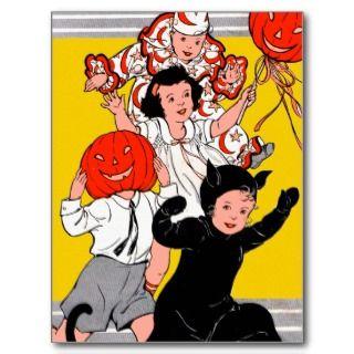 Halloween Retro Vintage Childrens Costume Party Postcards