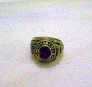Vintage 1977 Signed D CNiagara Falls High School Ring Ruby Center Sz