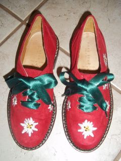HANS BEHR Italian Red Velvet CHRISTMAS Shoes w Green Ribbon Laces 32 1