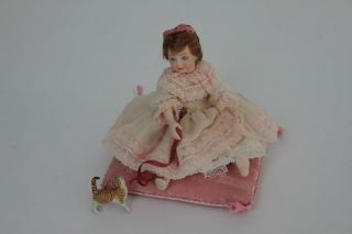 Young Girl Doll Seated Position on Pillow Louise Hedrick
