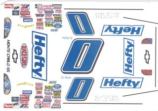 Eric McClure Hefty Chevy Nascar 1/64 HO Scale Slot Car Decals