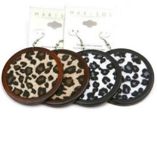 Animal Print Cheetah Black White Brown Wood Dangle Earrings