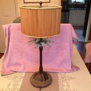 Vintage Tropical Palm Tree Table Lamp with Rattan Shade