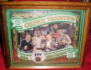 New Vintage RARE1986 Boston Celtics Tradition Miller Lite Beer Mirror
