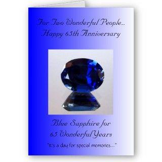 Una 65.a tarjeta feliz del aniversario de boda con un zafiro azul