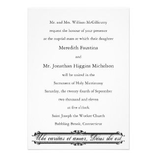 Ubi Caritas et Amor Catholic Wedding Invitation