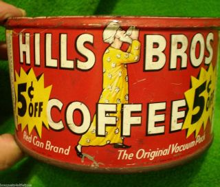 Vintage Hills Bros Coffee Tin Red Can Brand 5 Cents Off