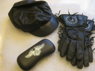 Harley Davidson Willie G Leather Gloves Sunglass Case Black Leather