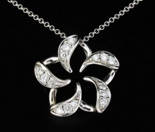 NA Hoku Diamond Plumeria 14k White Gold Flower Pendant