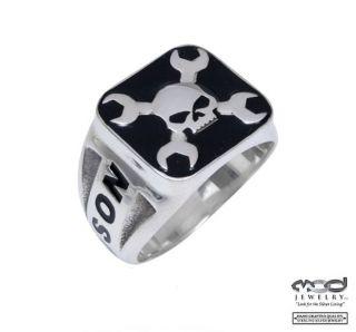 Harley Davidson Mens Sterling Silver Skull Ring 10