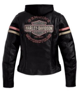 Womens Harley Davidson Miss Enthusiast 3 in 1 Leather Jackets Hooded