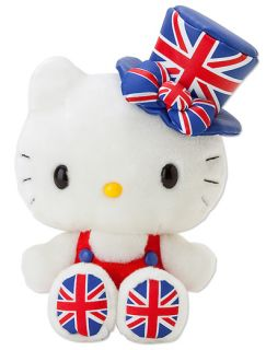 Hello Kitty Cute Plush Doll Union Jack Silk Hat Sanrio London 2012