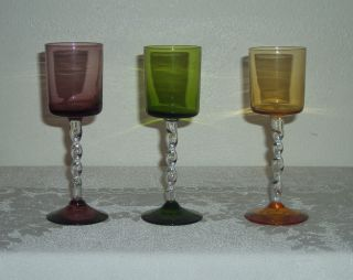 VINTAGE COLORED STEMMED SHOT GLASSES WINE TASTING GLASSES GREEN YELLOW