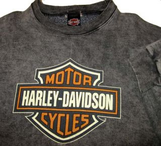 Vtg HARLEY DAVIDSON Gray Sweatshirt 2XL) USA MADE Wilwerts H D Dubuque