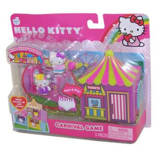 Hello Kitty World Carnival Game Playset Stack Houses 5 Pieces New