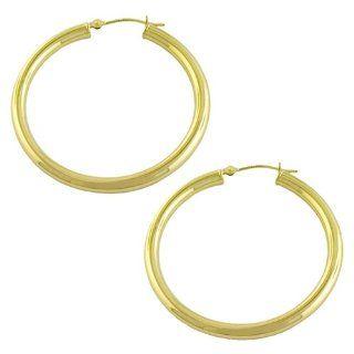 14 Karat Yellow Gold Hoop Earrings (38 mm) Jewelry