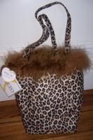 Soft Leopard Print Faux Feather Mini Tote Bag Handbag Purse