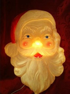 Vintage Christmas Blow Mold SANTA CLAUSE HEAD UNION LIGHT Holiday