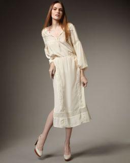 Haute Hippie Lace Panel Mid Calf Dress