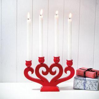 Norwegian Danish Red Wooden Christmas Candle Holder 7298