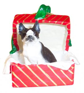 christmas ornament boston terrier dogs in a red gift box christmas