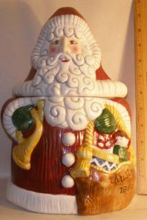 Fitz and Floyd Christmas 1996 Dated Santa Claus Cookie Jar