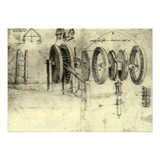 Engineering Sketch of a Wheel by Leonardo da Vinci Custom Invitation