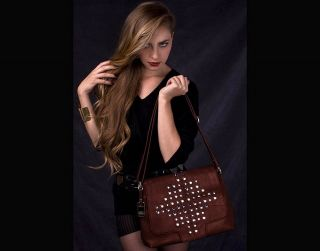 Hayden Harnett Studly Flap Bag Brown Cognac Leather $300