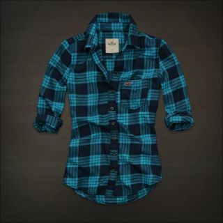 Hollister Women Turquoise Plaid Button Down Shirt Top Small NWT